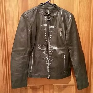UNIQUE Hand painted skull genuine leather jacket